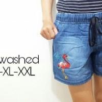 Pakaian Wanita - Celana Pendek Jeans Hp flamingo