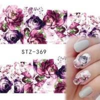 369 purple Flowers Nail Decal Water Transfer Sticker | Stiker Kuku
