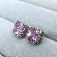 Anting Stud Silver Lapis Emas Putih Batu Pink Berlian 7mm -