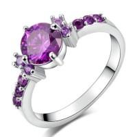 Cincin Berlian Silver Emas Putih Batu Ungu Perhiasan Imitasi