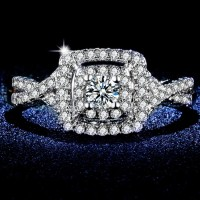 Cincin Berlian Silver Emas Putih (Perhiasan Imitasi Wanita)