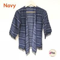 Jual 506 Cardigan Etnik Fringe / Cardi Rumbai Navy / Outer Batik / outwear Murah