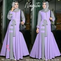 Nagita Dress Lavender / Gamis Muslim Wanita / Maxi Dress