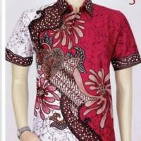 Kemeja Hem Batik Pria Sekar Blok Merah Fashion Pekalongan