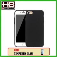 TPU Silicon Black Matte Case for iPhone 5G / 5S - Free Tempered Glass