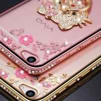 Softcase Flower List Diamond Case Oppo A71 + Ring Stand
