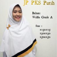JP PKS Putih 130x130 Jilbab Pelangi Segi Empat Wolfis Polos Palestina