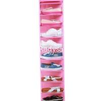istimewa Hanging Shoe Organizer Tanpa Resleting Pink ( HSO )