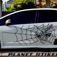 CUTTING STICKER STIKER MOBIL JAZZ MOTIF SPIDERMAN FULL BODY SEPASANG