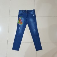 Jual celana panjang jeans bordir size 31 32 33 34 strech soft jeans murah Murah