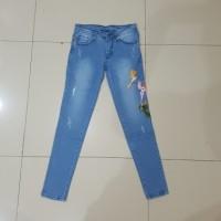 Jual celana panjang jeans bordir size 27 28 29 30 strech soft jeans murah Murah