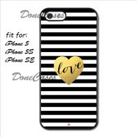 Casing iPhone 5 5S Black White And Gold Love Hard Case Custom
