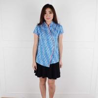 A11025 De Voile Atasan Batik Wanita Befina Side Btn (Blue)