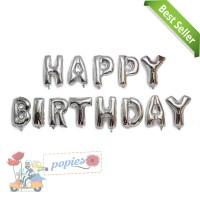 Balon Foil Huruf Set Happy Birthday Warna Silver / Set HBD Silver