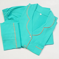 baju tidur wanita setelan kaos lengan pendek /cln panjang mint
