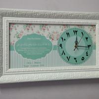 Hiasan jam dinding doa pernikahan untuk kado wedding shabby chic hijau