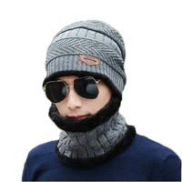 Kupluk topi beanie wool winter hat grey dengan Scarf