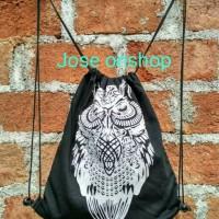 Jual tas ransel serut owl stringbag kanvas drill totebag murah Murah