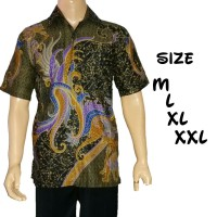 Kemeja batik pria/Hem batik sogan warna/Batik soga wayang pundak