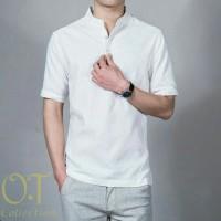 Baju Koko Pria Katun Twill Lengan Pendek Putih (Koko Syarif White OT)