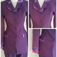 Setelan baju blazer/Blazer batik wanita warna ungu tua kode 188