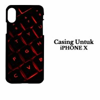 Casing IPHONE X red light keyboard Hardcase Custom Case Cover
