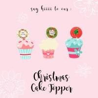 cake topper / cake decorating tema natal diameter 3 cm