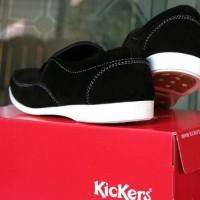 Sepatu Kerja Pria Kickers Sidney Slip On Hitam 02 / casual tanpa tali