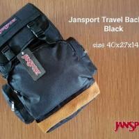 JANSPORT TRAVEL BLACK MAROON GREY BACKPACK TAS RANSEL CANVAS