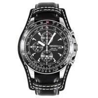 Seiko Prospex Solar SSC009P2 Flightmaster Chronograph Black Leather