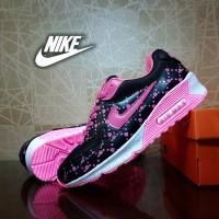 sepatu sport nike airmax hitam love / casual running wanita / pink