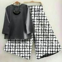 Set Kulot Granet Fashion Wanita/Celana Kulot/Setelan Baju Muslim Murah