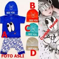 Baju Anak Bayi Laki Lucu Topi - 3 in 1 - See You Baby
