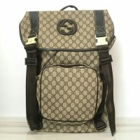 JUAL TAS GUCCI GG SUPREME CANVAS BACKPACK LARGE BROWN M Berkualitas