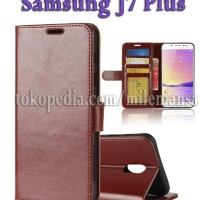 Flip Cover Samsung Galaxy J7 Plus, C7 2017, C8 Leather Case Wallet