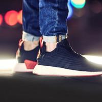 Promo Adidas NMD R2 Black Red Sneakers Pria Sepatu Olahraga Jalan PRE