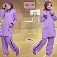 Promo Baju Olahraga Kaos Muslimah Believe BMS 01 Purple