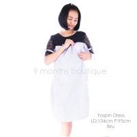 Baju Hamil Menyusui YOSPIN DRESS BLUE / Baju Wanita Murah Bagus Modis
