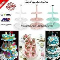 WHITE FOUNTAIN CAKE TIER 3 TRAY / TIER CAKE / PIRING CANTIK 3 SUSUN