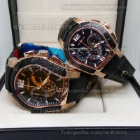 Jam Tangan Couple Aigner Palermo Rosegold Black Leather