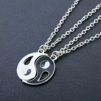 necklace couple yin yang hati liontin unik limited stok impor korea