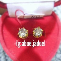 anting emas berlian mata satu simpel ukuran besar