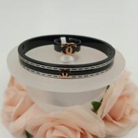 Gelang Chanel set Cincin premium black ceramic strips fashion