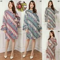 Harga vs tunik sifa tunik batik midi dress batik kerja busana casual   Hargalu.com