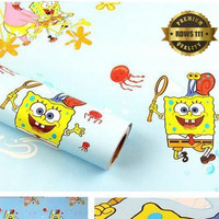 Spongebob biru 45cm x 10 Mtr | Wallpaper Sticker