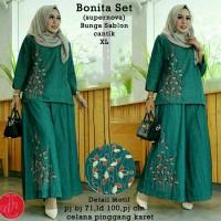 model baju muslim gamis terbaru dan modern Lk Bonita set tosca