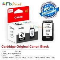 Cartridge Original Canon PG-47 PG47 47 Black, Tinta Printer Canon E400