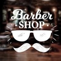 Stiker Barbershop Kumis Monokrom Stiker Kaca Pangkas Rambut Cutting