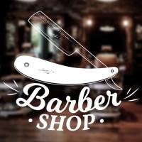 Stiker Barbershop Pisau Monokrom Stiker Kaca Pangkas Rambut Cutting