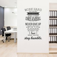 Stiker Quotes Word Hard Dream Dinding Kaca Tembok Rumah Wall Sticker